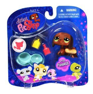 "Hasbro Year 2008 Littlest Pet Shop Portable Pets ""Funniest"" Series Bobble Head Pet Figure Set #992   Brown DASCHUND Puppy Dog with with Mustard And Ketchup Bottle, Double Dog Bowl And ""Hot Dog Bun"" Costume (91851) Toys & Games"