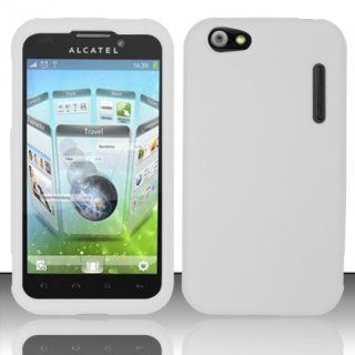 Alcatel One Touch Ultra 995 Case Nice White Hard Cover Protector with Free Car Charger + Gift Box By Tech Accessories Cell Phones & Accessories