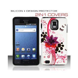 White Pink Flower Hard Soft Gel Dual Layer Flower Cover Case for Samsung Infuse 4G SGH I997 Cell Phones & Accessories