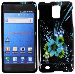 Blue Flower Hard Case Cover for Samsung Infuse 4G i997 Cell Phones & Accessories