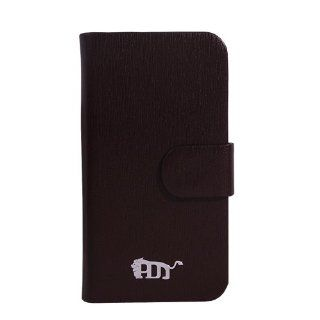 Pdncase Genuine Leather Case Book Style Metal Coated Frame Compatible for iPhone4 Color Brown Cell Phones & Accessories