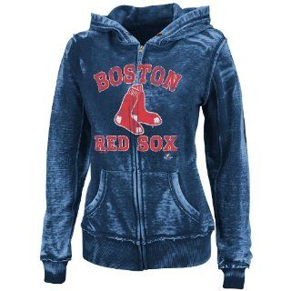 MLB Boston Red Sox Women's Push The Limits Full Zip Hooded Fleece Jacket, Washed Navy Heather, Small  Sports Fan Sweatshirts  Sports & Outdoors