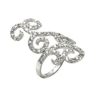 Sterling Silver Open Cubic Zirconia Wave Design ring Jewelry