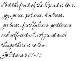 But the fruit of the Spirit is love, joy, peace, patience, kindness, goodness, faithfulness, gentleness and self control. Against such things there is no law. Galatians 522 23   Wall and home scripture, lettering, quotes, images, stickers, decals, art, an