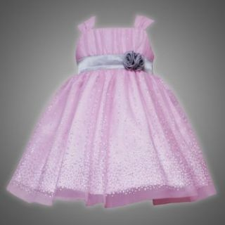 Rare Editions Baby 3M 9M PINK METALLIC SILVER GLITTER DOT MESH OVERLAY Special Occasion Wedding Flower Girl Holiday Party Dress 9M RRE 35490F F635490 Clothing
