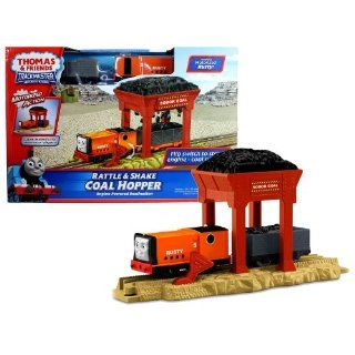 "Fisher Price Year 2011 Thomas and Friends Trackmaster ""Engine Powered Destination"" Series Motorized Railway Battery Powered Tank Engine Train Set   RATTLE and SHAKE COAL HOPPER with Rusty Engine, Wagon Car with Coal and Coal Hopper Toys & Ga"