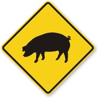 "Pig Symbol, Fluorescent Yellow Diamond Grade Reflective Aluminum Sign, 24"" x 24"""
