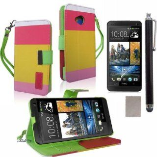 Able� Flip ID Card Wallet Colorful PU Leather Purse Design Case Cover w/Stand for HTC ONE M7 (Red+Yellow+Pink) Cell Phones & Accessories
