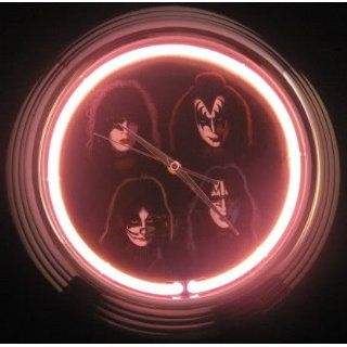 KISS Army Rock Band Four Faces Concert Album Neon Clock Toys & Games