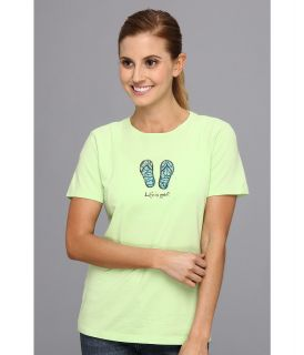 Life is good Livin Flip Flops Crusher Tee Womens Short Sleeve Pullover (Green)