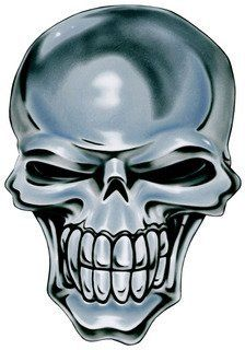 "2"" Helmet Hardhat Printed chrome skull color airbrushed decal sticker for any smooth surface such as windows bumpers laptops or any smooth surface."
