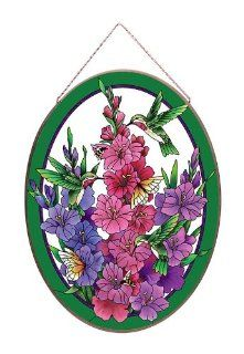 "23"" Hummingbird & Gladiolus Hand Painted Glass Hanging Wall or Window Art Panel   Suncatchers"