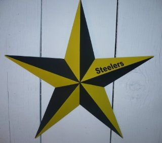 "53"" Heavy Duty Metal Barn Star Painted Yellow & Black. Go Steelers Express Your Enthusiasm for Your High School, College, or National League Team. This Tin Barn Star Measures Approximately 53"" From Point to Point (Left to Right). The Barnsta"