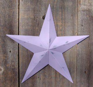53 Inch Heavy Duty Metal Barn Star Painted Rustic Violet. The Rustic Paint Coverage Starts with a Black or Contrasting Base Coat and Then the Star Color Is Hand Painted on Top of the Base Coat with a Feathering Look Which Gives the Star a Distressed Appear