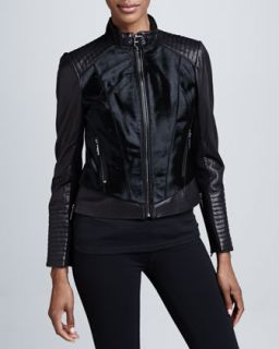 BCBG Mixed Media Leather & Fur Moto Jacket