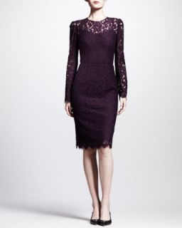 Dolce & Gabbana Long Sleeve Lace Illusion Sheath Dress