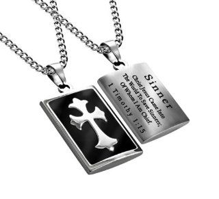 "Christian Mens Stainless Steel Abstinence ""Sinner   Christ Jesus Came Into the World to Save Sinners; of Whom I Am Chief"" Black Enamel Deluxe Cross Necklace for Boys   Guys Purity Necklace   20"" Curb Chain Jewelry"
