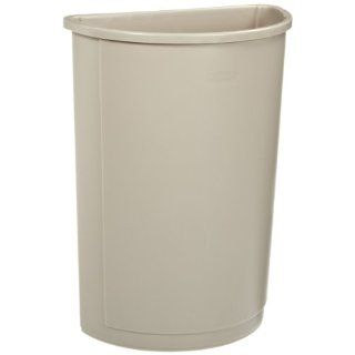 Rubbermaid Commercial Plastic 21 Gallon Untouchable Trash Can, Half Round, Beige