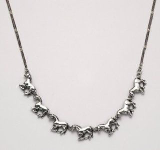 Sterling Silver Running Horses 18 inch Necklace with Lobster Claw Clasp Pendant Necklaces Jewelry