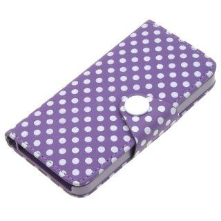 Cute Purple Button w/ White Spots Pu Leather Card Wallet Case for Apple Iphone 5 Cell Phones & Accessories
