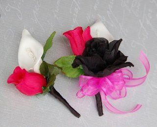 Black Hot Pink and White Pin Corsage & Boutonniere Set for Prom, Party, Wedding   Artificial Mixed Flower Arrangements
