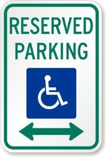 "Reserved Parking (ADA symbol) (both direction, Diamond Grade Reflective Aluminum Sign, 18"" x 12"""