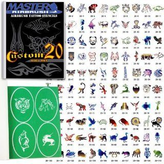 Master Airbrush� Brand Airbrush Tattoo Stencils Set Book #20 Reuseable Tattoo Template Set, Book Contains 110 Unique Stencil Designs, All Patterns Come on High Quality Vinyl Sheets with a Self Adhesive Backing.