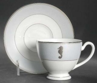 Waterford China Seahorse Ocean Footed Cup & Saucer Set, Fine China Dinnerware