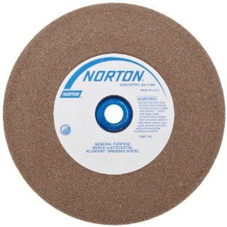 "Norton Bench and Pedestal Abrasive Wheel, Type 01 Straight, Aluminum Oxide, 1"" Arbor, 6"" Diameter, 3/4"" Thickness, Fine Grit (Pack of 1) Bench And Pedestal Grinding Wheels"