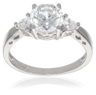 "Platinum Plated ""100 Facets Collection"" Cubic Zirconia Three Stone Ring (3 cttw) Jewelry"