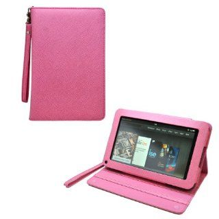 CrazyOnDigital Stand Leather Case Cover with Screen Protector For  Kindle Fire Tablet (Pink) .[Doesn't fit Kindle Fire HD] Computers & Accessories