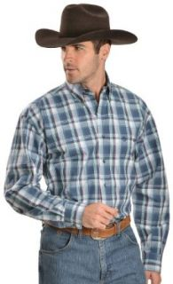 Wrangler George Strait Men's Plaid Long Sleeve Shirt Big And Tall Navy Large Tall at  Men�s Clothing store Button Down Shirts
