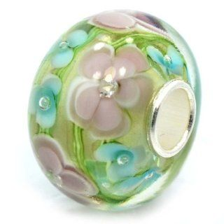 Pro Jewelry .925 Sterling Silver Glass Larger Size Green / Pink & Blue Flowers (Crystals Inside Glass) Charm Bead for Snake Chain Charm Bracelets 5711 Charms Jewelry
