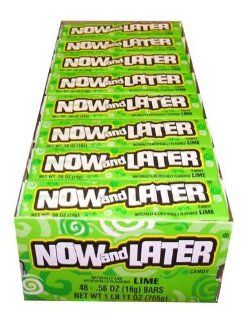 Now and Later Lime Flavored Candy Forty Eight 4 Piece Bars  Taffy Candy  Grocery & Gourmet Food