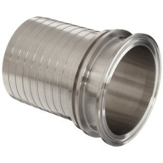 "Dixon CSSR300 Stainless Steel 316 Sanitary Style Bevel Seat End Holedall Fitting, Crimp Stem, 3"" Female End x 3"" Hose ID Sanitary Tube Fittings"