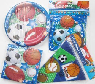 Sports Theme Birthday Party Kit For Boys and Girls ~ Standard Package For Larger Events ~ Dinner Plates, Luncheon Napkins, Happy Birthday Letter Banner, and Pennant Flag Banner ~ Soccer, Baseball, Basketball, & Football ~ Serves 18