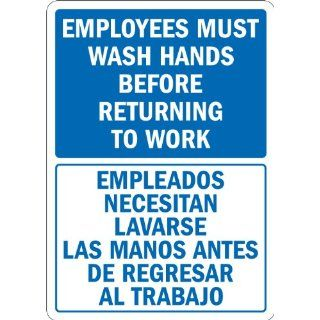 "SmartSign 3M Engineer Grade Reflective Label, Legend ""Employees Wash Hands Before Returning to Work"", Bilingual Sign, 14"" high x 10"" wide, Blue on White Industrial Warning Signs"