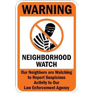 "SmartSign 3M High Intensity Grade Reflective Sign, Legend ""Warning Neighborhood Watch"" with Graphic, 18"" high x 12"" wide, Black/Orange on White Industrial Warning Signs"