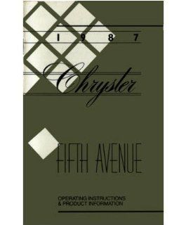 1987 Chrysler 5Th Fifth Avenue Owners Manual User Guide Operator Book Fuses Automotive