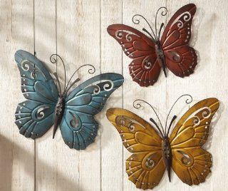 Nature Inspired Metal Butterfly Wall Art Trio   Iron Butterfly Wall
