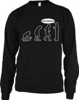 Evolution Of Man, Stop Following Me Men's Thermal Shirt Clothing