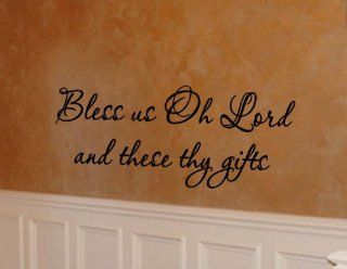 Bless Us Oh Lord and These Thy Gifts, Dining Room Giving Thanks, Saying Grace Vinyl Wall Art Lettering Quote   Wall Decor Stickers