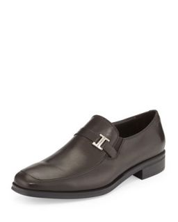 Pivetto Leather Loafer, Dark Brown