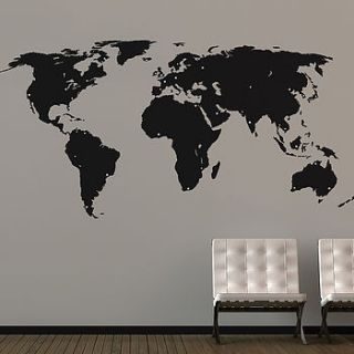 large world map wall sticker by the binary box