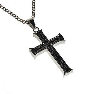 "Christian Mens Stainless Steel Abstinence ""For God so Loved the World That He Gave His Only Begotten Son That Whosoever Believes Into Him Shall Not Perish but Have Eternal Life"" John 316 Black Iron Cross Purity Necklace for Boys on 20"" Curb"