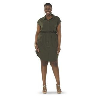 Pure Energy Womens Plus Size Utility Shirt Dress   Green 3X