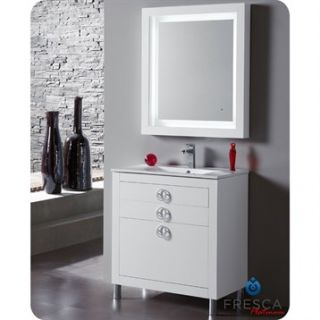 Fresca Platinum Due 32 Glossy White Modern Bathroom Vanity