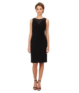 Jessica Howard Sleeveless Cutout Beaded Neck Empire Waist Side Tucked Sheath Dress Womens Dress (Black)