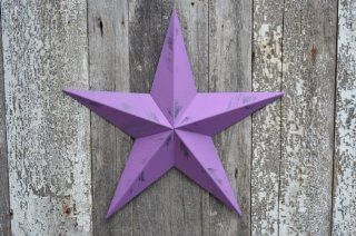 72 Inch Heavy Duty Metal Barn Star Painted Rustic Purple Orchid. The Rustic Paint Coverage Starts with a Black or Contrasting Base Coat and Then the Star Color Is Hand Painted on Top of the Base Coat with a Feathering Look Which Gives the Star a Distressed