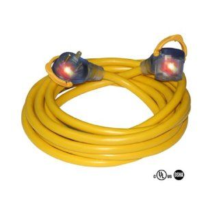 50 Foot Pro GripTM 10/3 STW RV Extension Cord w/ 30 Amp Lighted Ends, Yellow